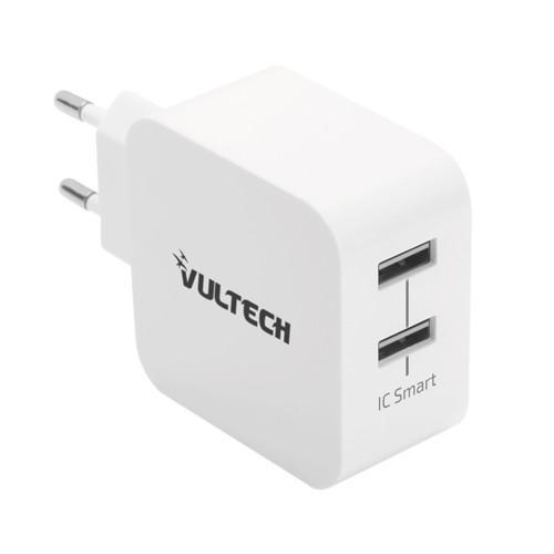 Caricatore Adattatore Universale Vultech CC-224WH 2 Porta Usb 4,8A 24W - Bianco