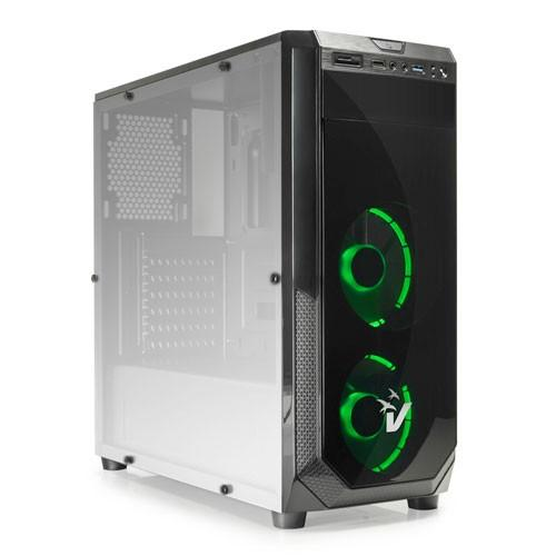Case Atx Vultech Gaming Blackdoom GS-0385GR Usb 3.0 SD Card Ventole Verdi - Frontale Acrilico