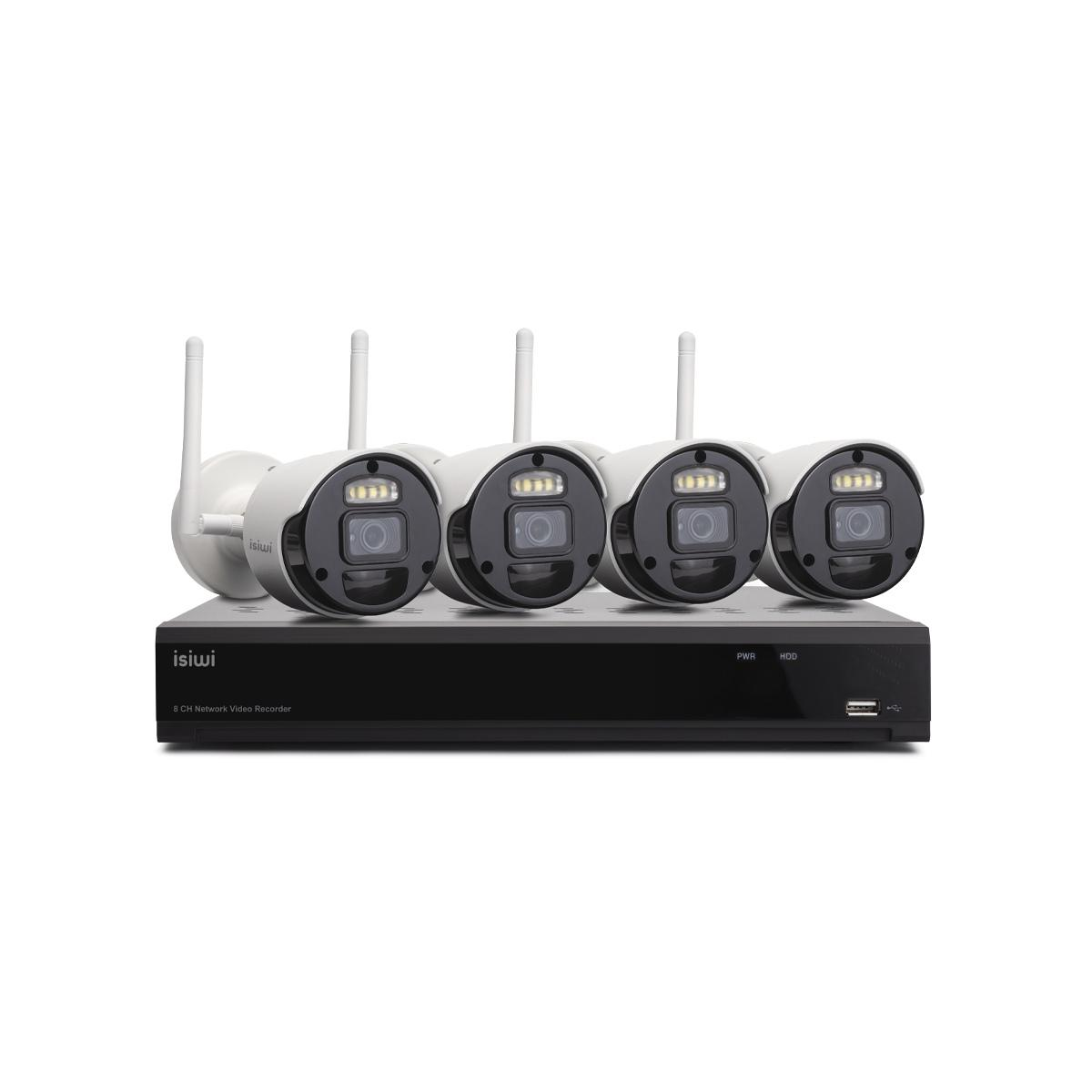 Kit Wireless Isiwi Connect4 ISW-K1N8BF2MP-4 NVR 8 Canali + 4 Telecamere IP 1080P Wireless con funzione PIR