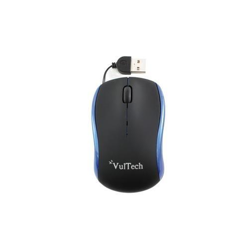Mini Mouse Ottico Vultech MN-01B Blu e Nero 1200Dpi Cavo Retrattile Usb 2.0
