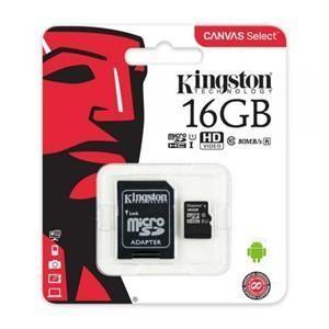 Scheda di Memoria Micro-SDHC 16GB Kingston Canvas Select  UHS-I U1 C10 Class10 SDCS/16GB