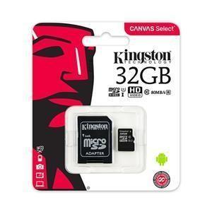 Scheda di Memoria Micro-SDHC 32GB Kingston Canvas Select  UHS-I U1 C10 Class10 SDCS/32GB