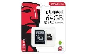 Scheda di Memoria Micro-SDXC 64GB Kingston Canvas Select  UHS-I U1 C10 Class10 SDCS/64GB